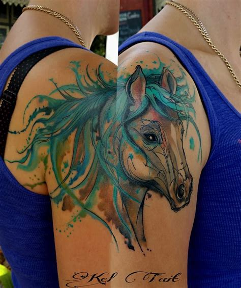 watercolor tattoos horse watercolor by kel tait tatts