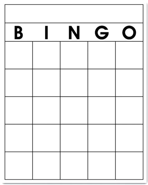 Printable Bingo Card Template by Free Blank Bingo Card Template Printable