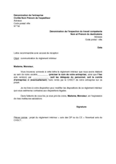 Exemple De Lettre Soumission Exemple Gratuit De Lettre Accompagnant Envoi R 232 Glement Int 233 Rieur 224 Inspection Travail