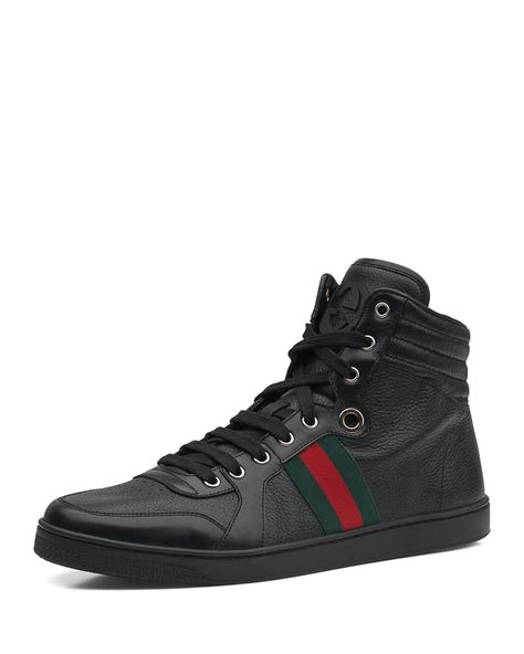 gucci leather high top sneaker black gucci leather high top sneaker in black for lyst