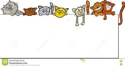 design frame cartoon cats with frame cartoon design stock vector illustration