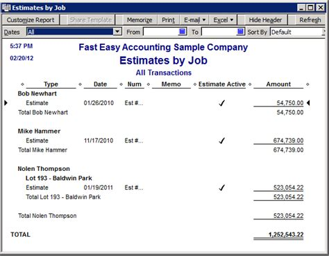 quickbooks report templates quickbooks estimate reports
