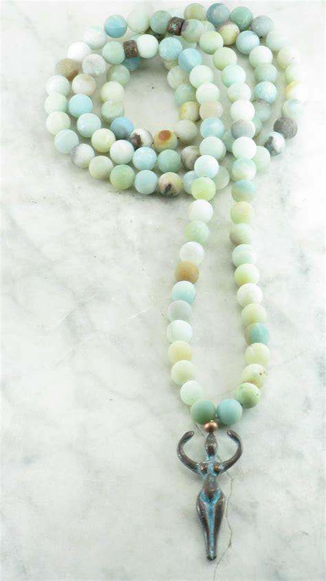 Goddess Mala Beads   108 amazonite mala beads