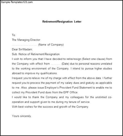 Resignation Letter Exles For Retirement Sle Retirement Resignation Letter Sle Templates