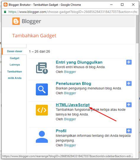 cara memasang kode javascript memasang widget di blog cara memasang widget alexa rank di blogger brotutor