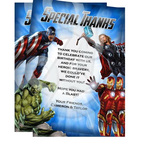 avengers printable thank you cards avengers personalized thank you cards