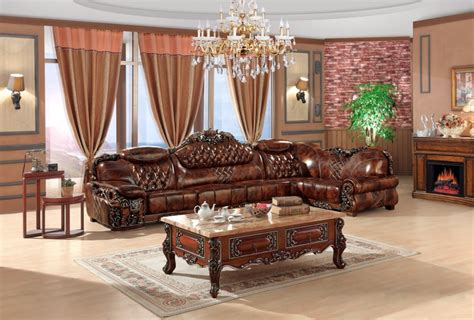 China Living Room Furniture European Leather Sofa Set Living Room Sofa China Wooden Frame L Shape Corner Sofa Luxury Large