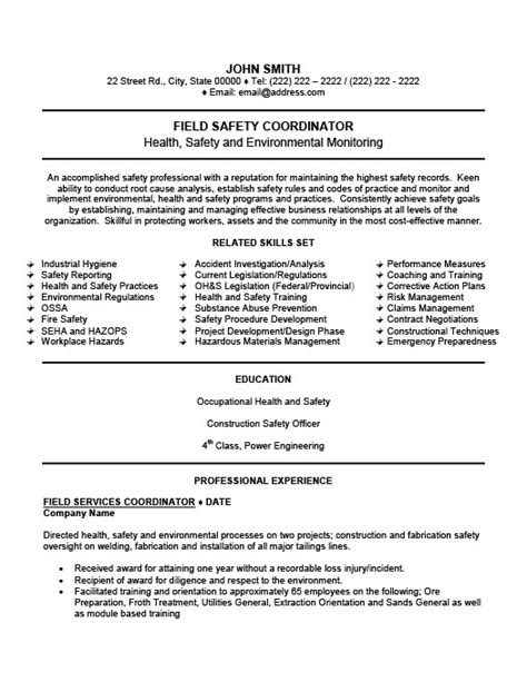 ehs resume exles field safety coordinator resume template premium resume