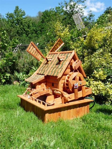 amish water wheel fountain wooden garden yard decor