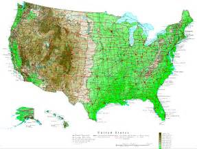 us map directions united states contour map