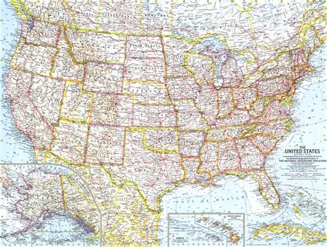 national geographic united states map united states of america map 1961 maps