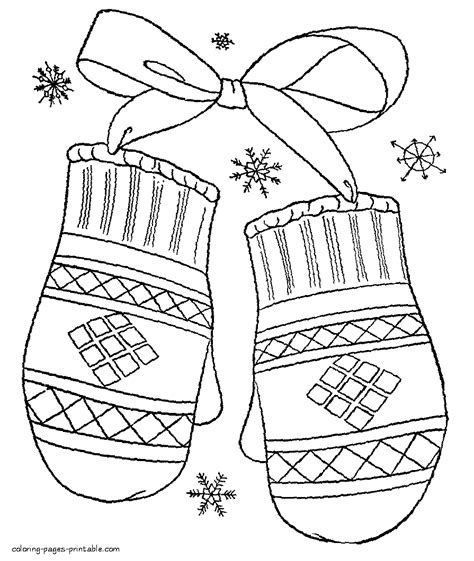 winter clothes coloring pages mittens