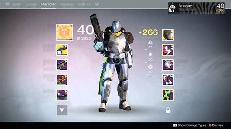 destiny 2 highest light level destiny my level 40 titan light 266 youtube