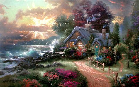 cottage paintings by kinkade house on the wallpaper search