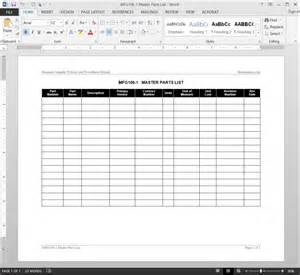 master template list master parts list template sample project list template 6 free documents download