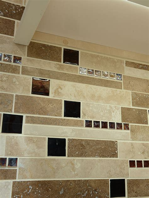 brown glass travertine mix backsplash tile for traditional