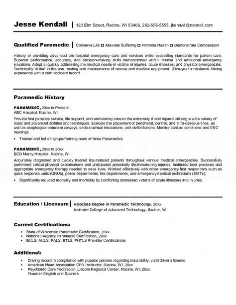 7 exle of professional letter emt resume paramedic resume