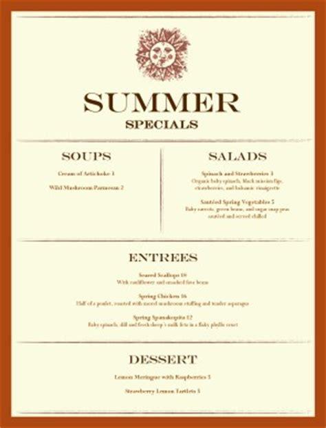 specials menu template image summer specials menu templates