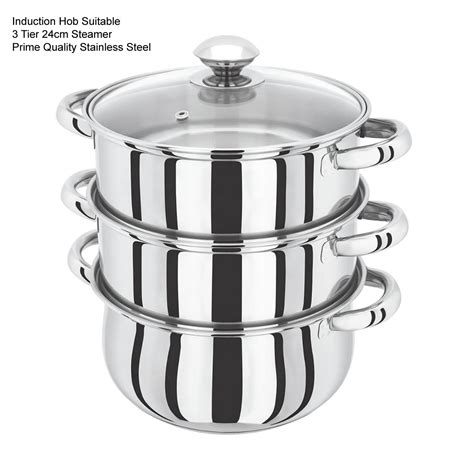 induction hob saucepan set s s steel 3 and 4 tier induction hob steamer cookware pot pan set with glass lid ebay
