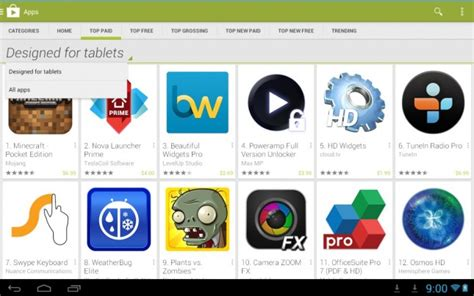 play store app for android tablet android tablets now show tablet designed apps by default in play store