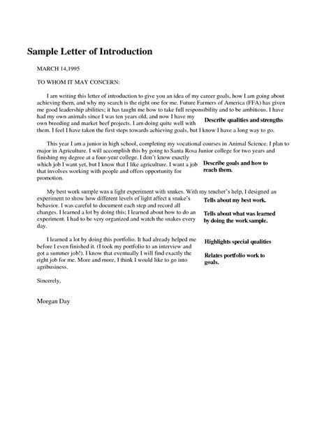 How To Write A Portfolio Essay by Letter Of Introduction Format Best Template Collection