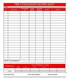 alarm test record template extinguisher record sheet format sles word