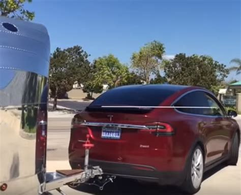 tesla model x towing trailer test dpccars