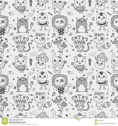 cute pattern drawings seamless cute doodle monster pattern background stock