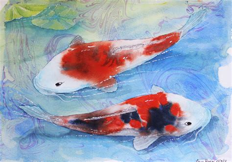 koi fish watercolor paintings watercolor swimming koi art by anna