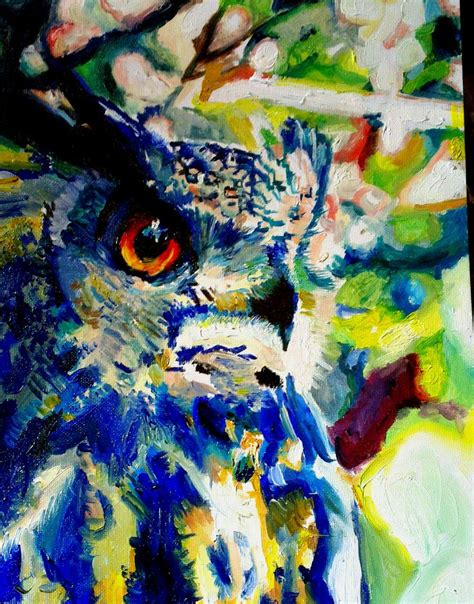 Zoo Zoo Brush Owl abstract owl impressionism print 12x16