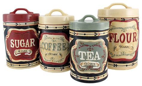4 country store kitchen ceramic canister set