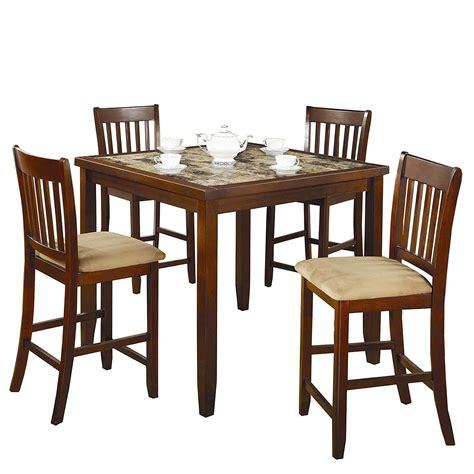 5 Counter Height Dining Set With Stools by Casual 5 Dining Set With Microfiber Padded Counter