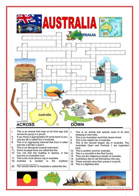 australia new zealand quiz worksheet free esl australia crossword 2 worksheet free esl printable