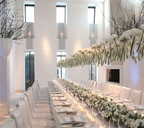 all white decor long tables wedding receptions belle the magazine
