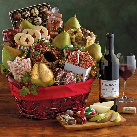 deluxe christmas gift basket with wine wine gifts