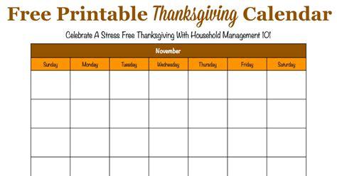Thanksgiving Calendar Printable Thanksgiving Calendar For November