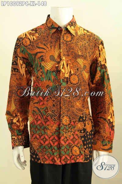 Kemeja Batik Kawung Grompol Printing Lengan Panjang baju batik pria dewasa proses print colet kemeja batik klasik model lengan panjang terkini