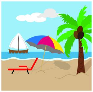 Lounge Chair With Umbrella Beach Clipart Image Tropical Island Scene With Coconut