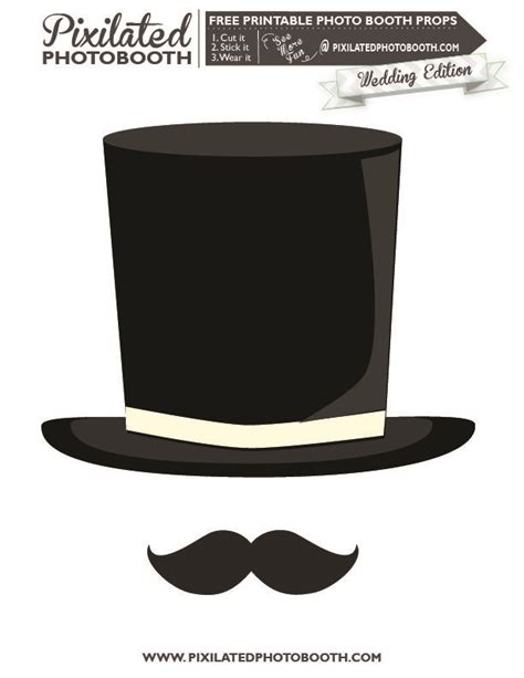 top hat and mustache printable photo booth prop