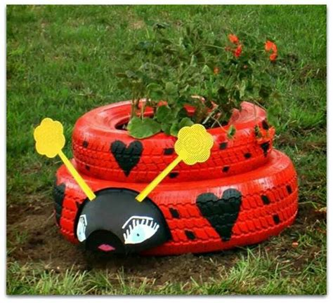 Ladybug Planter by Recycled Tire Ladybug Planter Gardening
