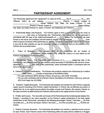 Partnership Agreement Template Create A Partnership Agreement General Partnership Agreement Template