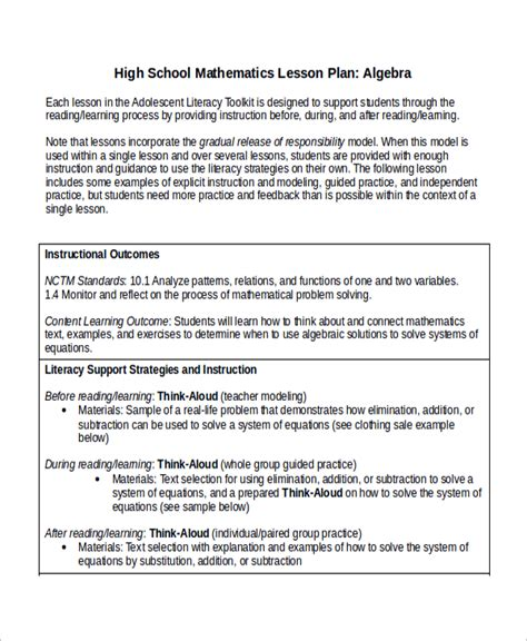 high school lesson plan templates sle math lesson plan template 9 free documents