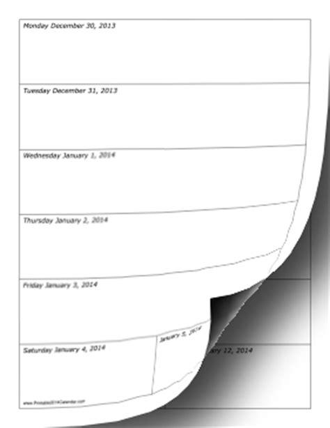 printable 2014 weekly calendar vertical