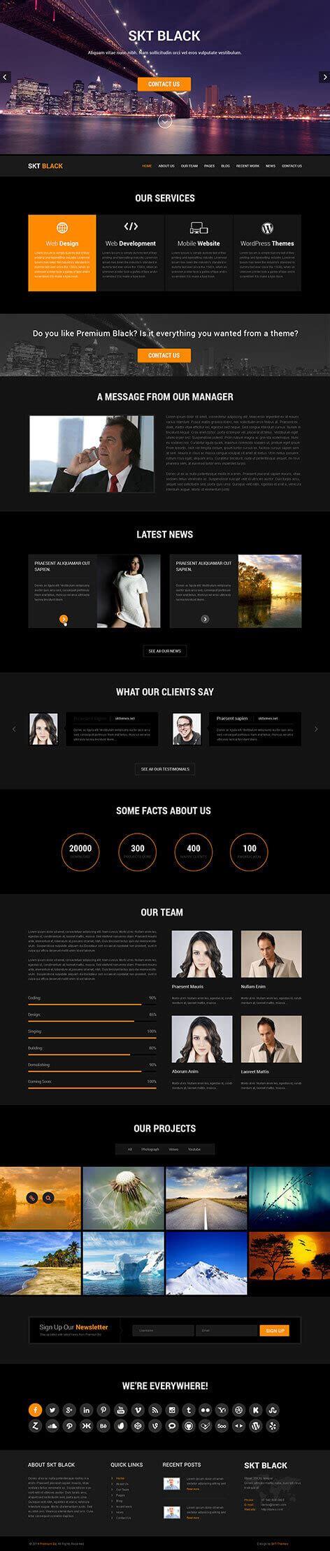 black themed websites dark and black wordpress theme for darker website usage