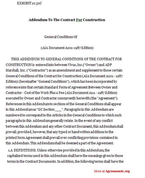 construction addendum template addendum to the contract for construction sle addendum