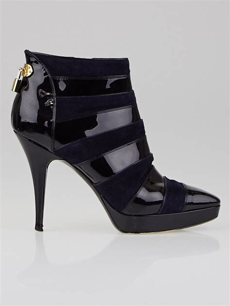 Cbells Louboutin Boot Frenzy by Louis Vuitton Black Blue Patent Leather And Suede Frenzy