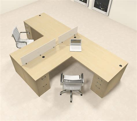 2 Person L Shaped Desk Two Person L Shaped Modern Divider Office Workstation Desk Set Ch Amb Sp35 H2o Furniture