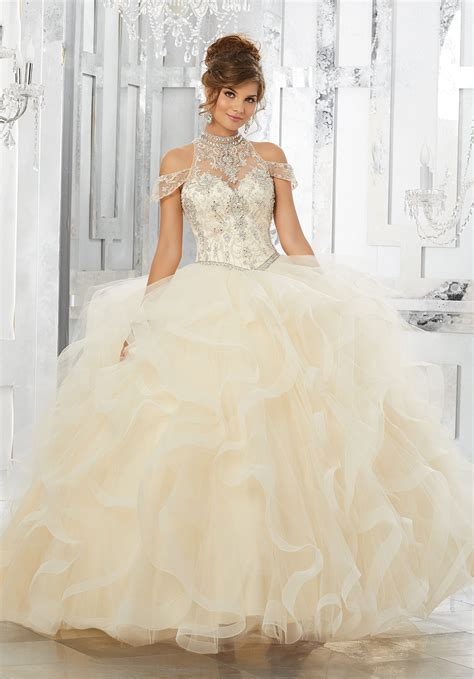Crystal Beaded Embroidery On Aou Ed Tulle Ball Gown