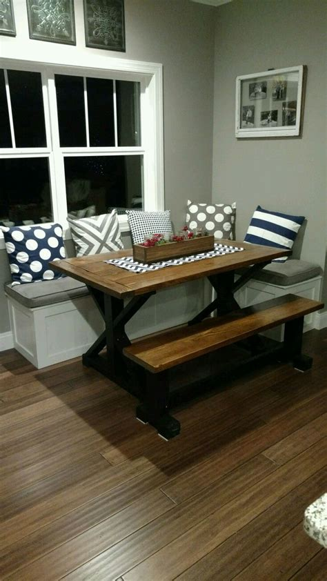 my husband built this table and bench seating for my nook