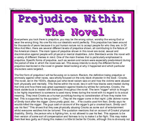 Racism And Discrimination Essay by Of Mice And Prejudice Essay